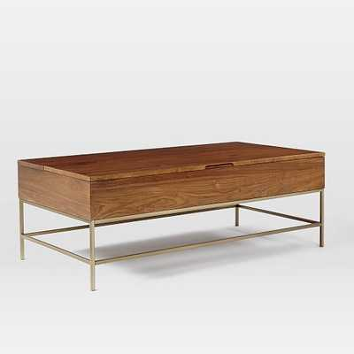 "Storage Coffee Table - Walnut/Antique Brass - Large (50"") - West Elm"