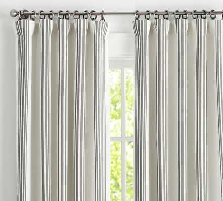 """RIVIERA STRIPE DRAPE WITH BLACKOUT LINER, 50 X 96"""", CHARCOAL - Pottery Barn"""
