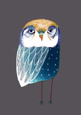 Blue Night Owl. Illustration Art Print - Etsy