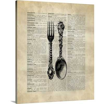Vintage Dictionary Art Spoon and Fork by Kate Lillyson Wall Art on Gallery Wrapped Canvas - Wayfair