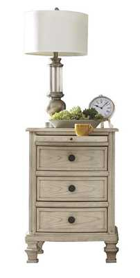 Demarlos Parchment White Wood Three Drawer Night Stand - theclassyhome.com