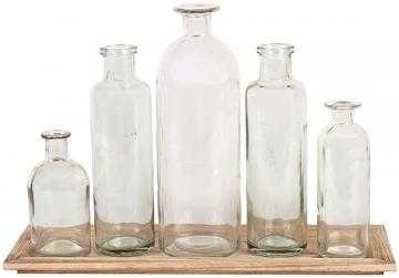 GLASS BOTTLE VASES WITH TRAY SET - Home Decorators