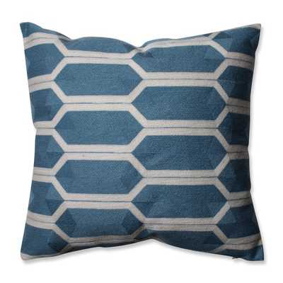 Pillow Perfect Graphic Detail Cerulean 16.5-inch Throw Pillow-Blue- Feather fill insert - Overstock