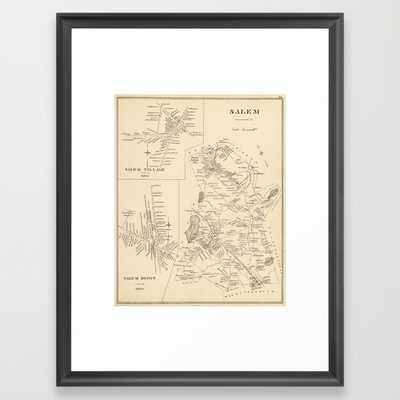 """Vintage Map of Salem Massachusetts FRAMED ART PRINT - 15"""" x 21"""" - Framed print - Society6"""