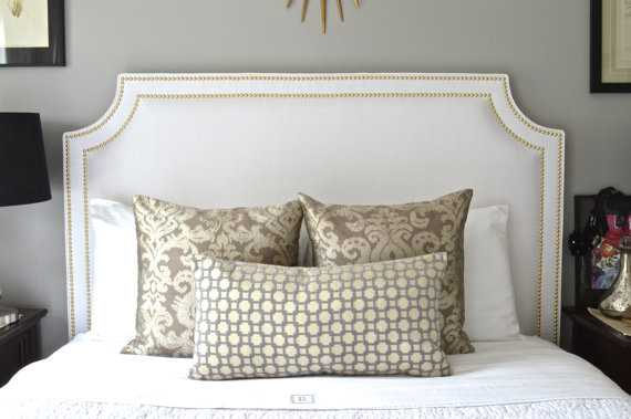 Upholstered Headboard, King, Queen, Full, Twin Size, Belgrave Shaped, White Linen Fabric, Double Row - Etsy