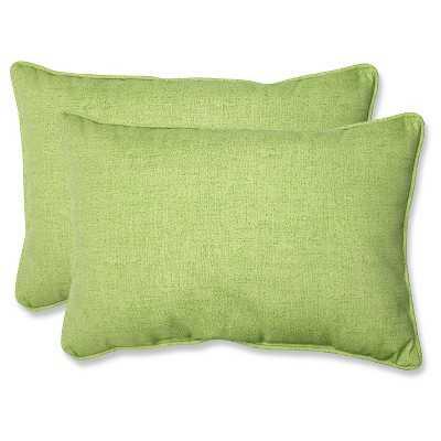 """Outdoor 2-Piece Lumbar Toss Pillow Set - Green 24""""-Polyester fill insert - Target"""