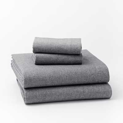 Flannel Sheet Set - King, Graphite - West Elm