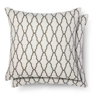 "Thresholdâ""¢ 2-Pack Trellis Toss Pillows - gray - 18''x 18"" - Polyester filled - Target"