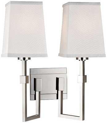 "Fletcher 15 1/4""H 2-Light Polished Nickel Sconce - Lamps Plus"