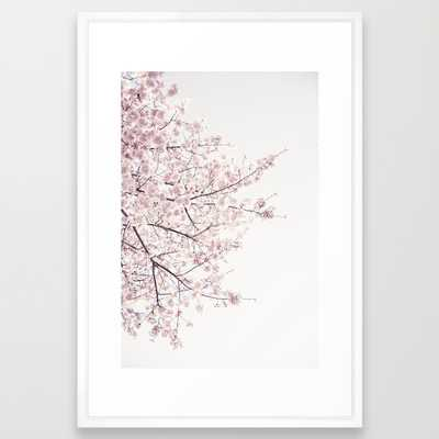 "Cherry blossom - 26"" X 38"" - Vector white frame - Society6"