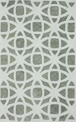 """Hand Hooked Emilio Cotton Rug - Silver; 7' 6"""" x 9' 6"""" - Loom 23"""