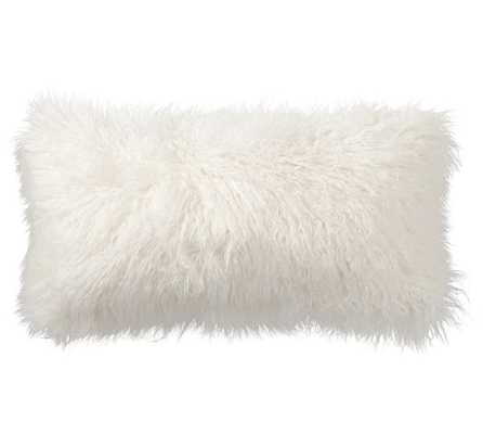 """Mongolian Faux Fur Pillow Cover -Ivory, 26""""Sq, Insert sold separately - Pottery Barn"""