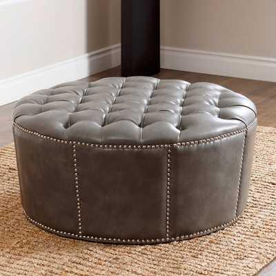 Newport Grey Leather Nailhead Trim Round Ottoman - Overstock