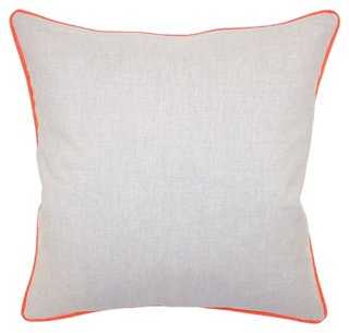 Dakota 22x22 Cotton Pillow, Orange, feather/down insert - One Kings Lane