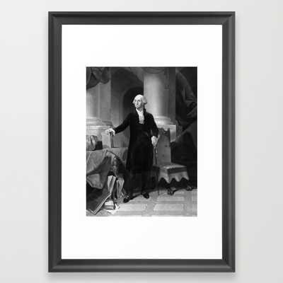 "President George Washington-FRAMED ART PRINT/ SCOOP BLACK SMALL (15"" X 21"") - Society6"
