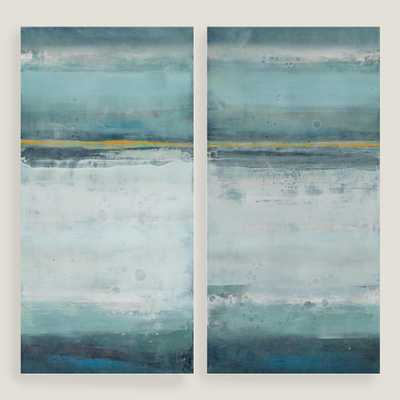 "Blue Crush Diptych I and II - 48""W x 48""H - Unframed - No mat - World Market/Cost Plus"