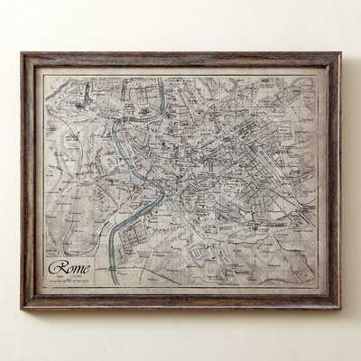"2Sepia Rome Map Framed Print, 5"" H x 31"" W x 0.75"" D - Wayfair"