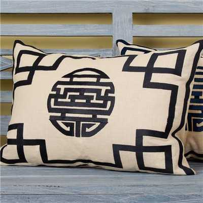 Asian Happiness Fretwork Pillow -14x20-insert included - Shades of Light