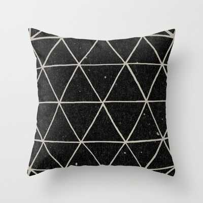 """Geodesic-THROW PILLOW/ INDOOR COVER (18"""" X 18"""") WITH PILLOW INSERT-Black/White - Society6"""