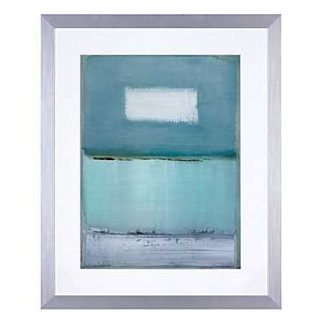 Azure Blue 1 - 26.5''W x 32.5''H - Bright Silver Frame with Mat - Z Gallerie