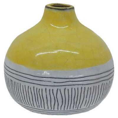 Round Stripe Vase - Yellow - Target