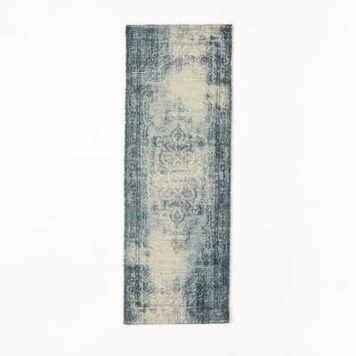 Distressed Arabesque Wool Rug - Midnight - 2.5'x7' - West Elm