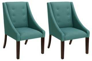 Sophie Teal Linen Swoop-Arm Chairs, Pair - One Kings Lane