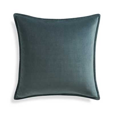 Brenner Velvet Pillow -  Slate - 20x20 - Feather Insert - Crate and Barrel
