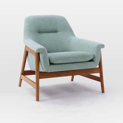 Theo Show Wood Chair-Seafoam, Yarn Dyed Linen Weave - West Elm