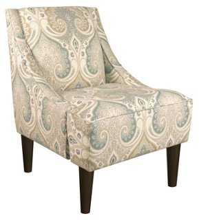 Quinn Swoop-Arm Chair, Seafoam - One Kings Lane