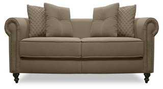 "Milo Sofa, Brown Linen 100"" - One Kings Lane"
