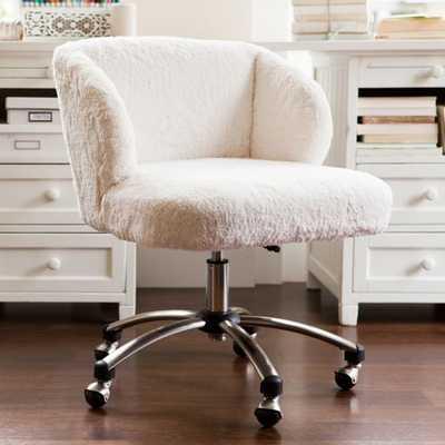 Ivory Sherpa Faux-Fur Wingback Desk Chair - Pottery Barn Teen