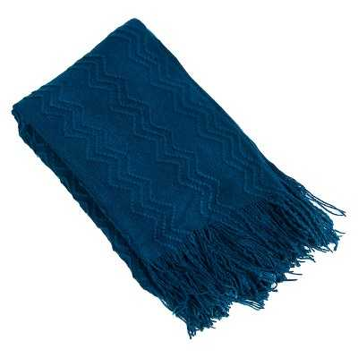 Knitted Zigzag Design Throw - Navy - Target