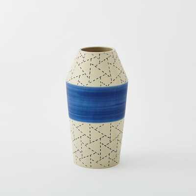 Indigo Ceramic Vase - Banded - West Elm