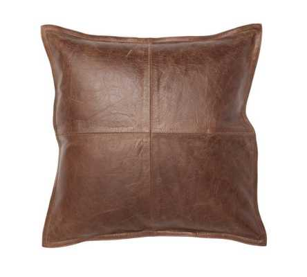 """PIECED LEATHER PILLOW COVER, 20X20"""", WHISKEY - Insert Sold Separately - Pottery Barn"""