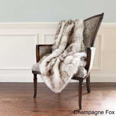 Aurora Home Wild Mannered Luxury Long Hair Faux Fur 58 x 36-inch Lap Throw-Champagne Fox - Overstock