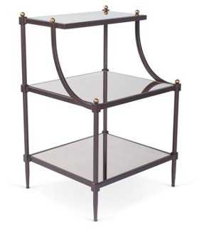 Sage Tiered Mirror Side Table, Bronze - One Kings Lane
