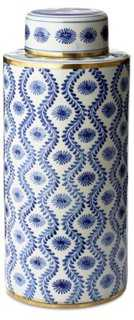 "16"" Boho Canister, Blue - One Kings Lane"