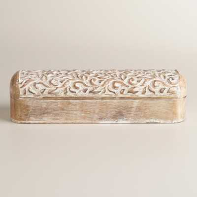 Whitewash Hand-Carved Wood Pencil Box - World Market/Cost Plus