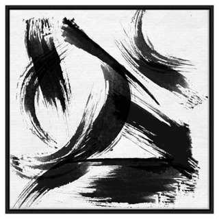 """Black and White Abstract Strokes - 42"""" x 42"""" x 1.5"""" - Framed - One Kings Lane"""