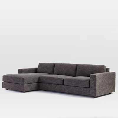 """116""""W Urban Left Chaise 2-Piece Sectional - Heathered Tweed, Charcoal - West Elm"""