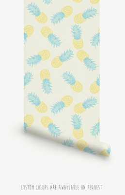 "Pineapple Pattern Self Adhesive Wallpaper L012-20.8"" x 96"" - Etsy"