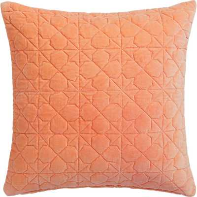 "August quilted peach 16"" pillow with down-alternative insert - CB2"