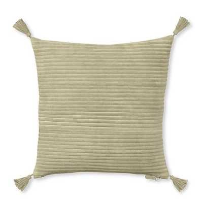 "Suede Quilted Pillow Cover with Tassels, Beige - 20"" sq. - Insert sold separately - Williams Sonoma Home"