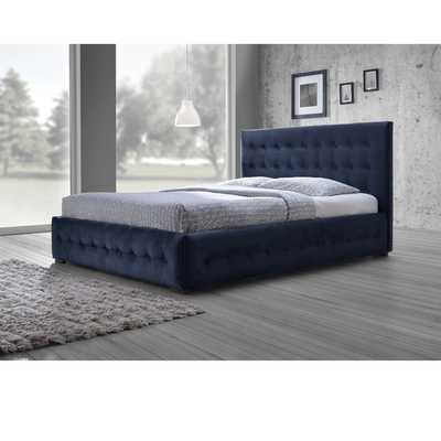Baxton Studio Modern and Contemporary Navy Blue Velvet Fabric Button-tufted Queen Platform Bed - Overstock