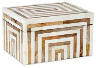 Striped Bone & Wood Box - One Kings Lane