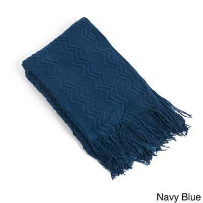 Knitted Zigzag Design Throw Blanket - Navy Blue - Overstock