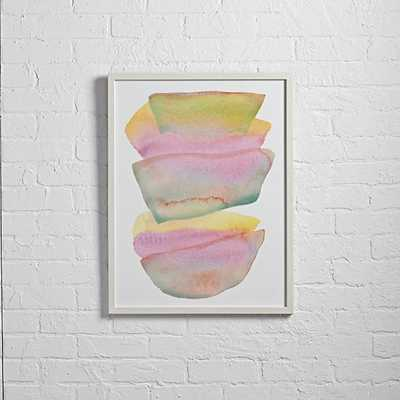 "Stacked Watercolor Wall Art - 20""Wx0.75""Dx26""H -White frame - Land of Nod"