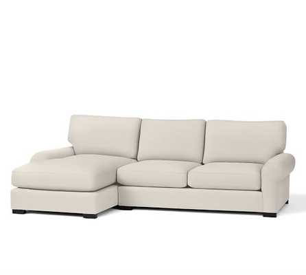 Right Arm Loveseat With Chaise - Twill, Cream - Pottery Barn