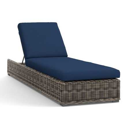Huntington All Weather Wicker Single Chaise-Chaise  Cushion  Slipcover- Cobalt - Pottery Barn